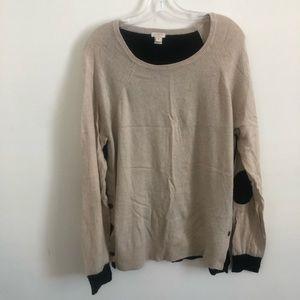 J Crew XL tan/black sweater